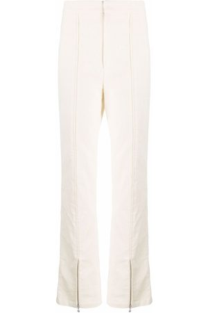 ROTATE Piped-detail high waist cuff-zip trousers
