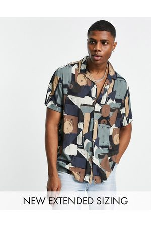 ASOS Relaxed revere abstract blocks print shirt in