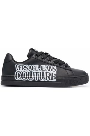 VERSACE Logo-print leather trainers