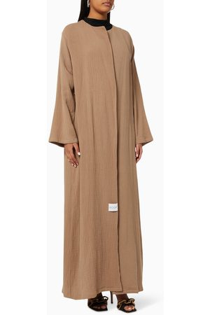 Noor The Label Women Abayas - Long Sleeve Abaya in Crinkled Cotton