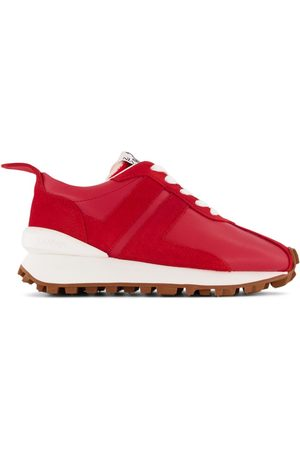 Lanvin Bumper Low Leather Trainers with Embossed Logo Back Tab and Tongue