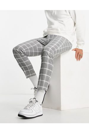 Topman Skinny pow checked jogger trousers in and white