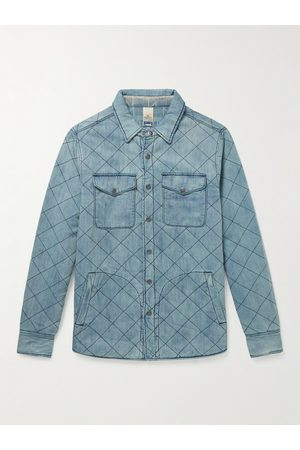 Faherty Doug Good Feather Reversible Quilted Padded Denim Overshirt