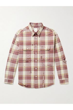 VISVIM Men Casual - Distressed Checked Cotton and Linen-Blend Flannel Shirt