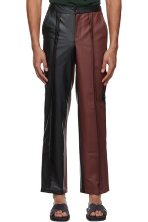Bloke Burgundy & Faux-Leather Topstitch Trousers