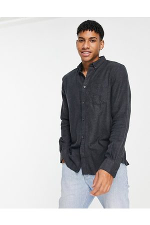 French Connection Long sleeve plain flannel shirt in charcoal