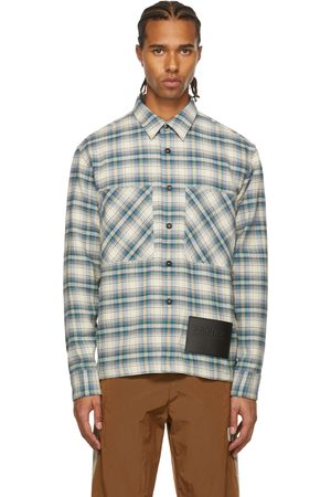 Palm Angels White & Blue Archive Check Work Shirt