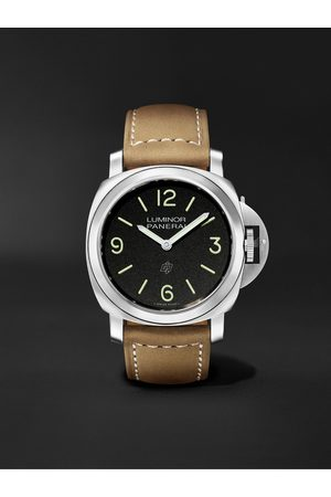 PANERAI Men Watches - Luminor Base Logo Hand-Wound 44mm Stainless Steel and Suede Watch, Ref. No. PAM01086