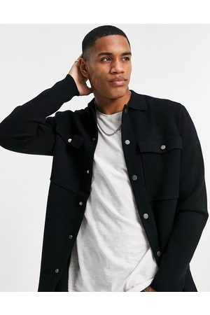 Only & Sons Knitted overshirt with chest pockets in