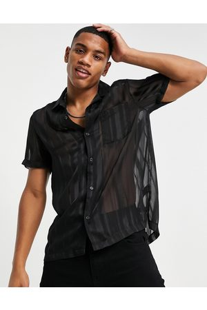 Topman Revere shirt with burnout stripe in