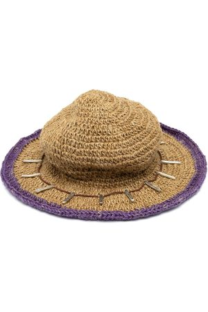 Youths in Balaclava Men Hats - Contrasting trim straw hat