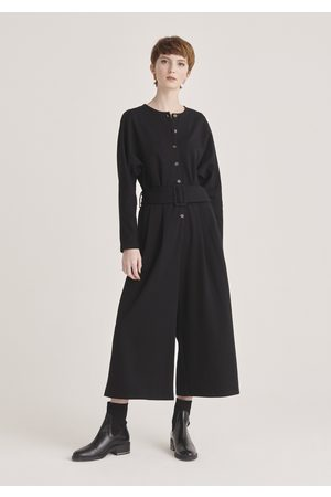 Paisie Belted Jersey Jumpsuit with Buttons