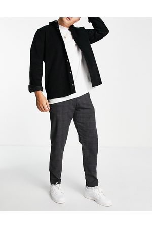 SELECTED Slim tapered trousers in dark check