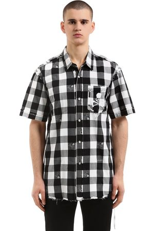 MASTERMIND Skull Checked Flannel Short Sleeve Shirt