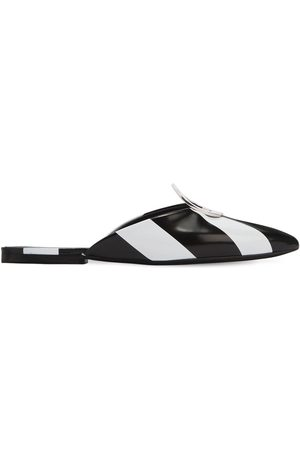 Proenza Schouler 10mm Metal Ring Striped Leather Mules
