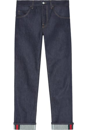Gucci Men Tapered - Tapered denim pants with Web