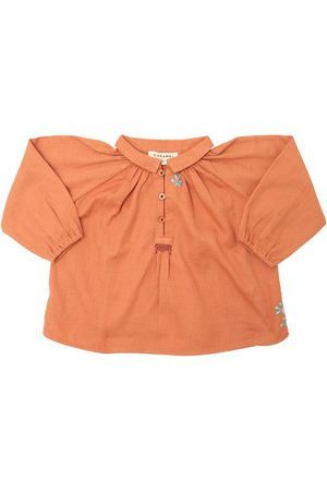 Caramel Embroidered Light Cotton Flannel Top