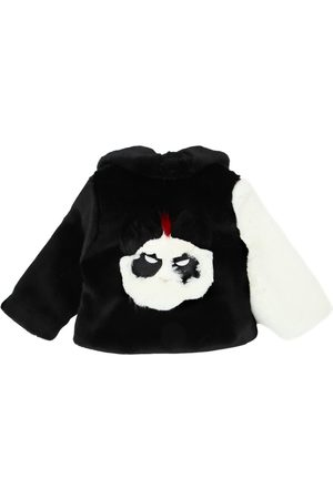 BANDITS GIRL Panda Patchwork Faux Fur Coat