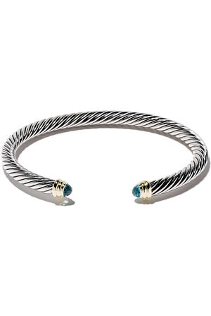David Yurman Cable Classics sterling silver, blue topaz and 14kt yellow gold accented cuff bracelet
