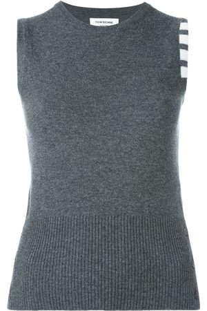 Thom Browne Sleeveless crew neck Shell Top With 4-Bar Stripe In Dark Cashmere