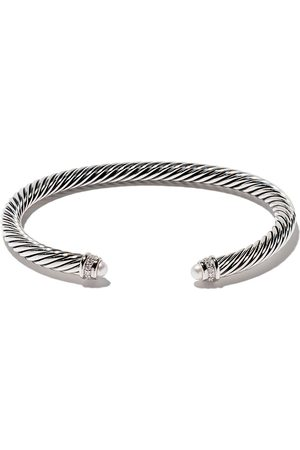 David Yurman Sterling silver Cable Classics pearl and diamond cuff bracelet