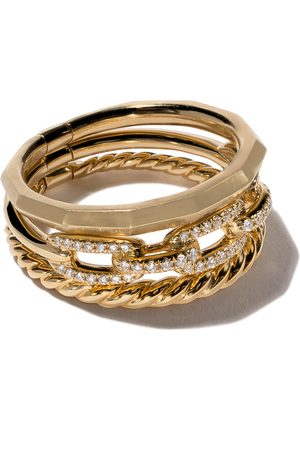 David Yurman 18kt yellow gold Stax diamond narrow ring