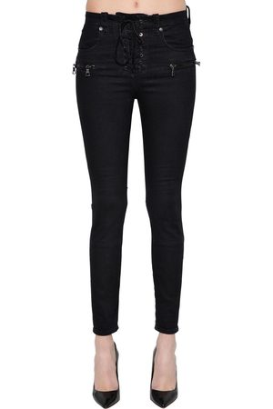 UNRAVEL Skinny Lace-up Cotton Denim Jeans