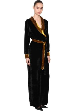 SILVIA ASTORE Two Tone Velvet Jumpsuit W/ Belt