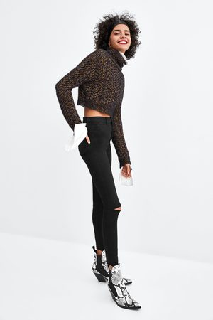 Zara Women Jeggings - Hi-rise 'shaper' jeggings with rips on the knees
